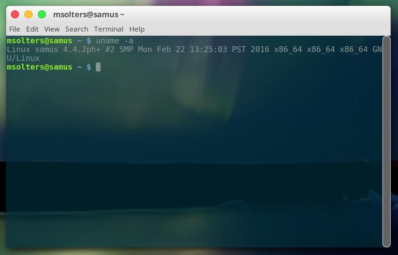 verifying linux samus kernel using uname -a