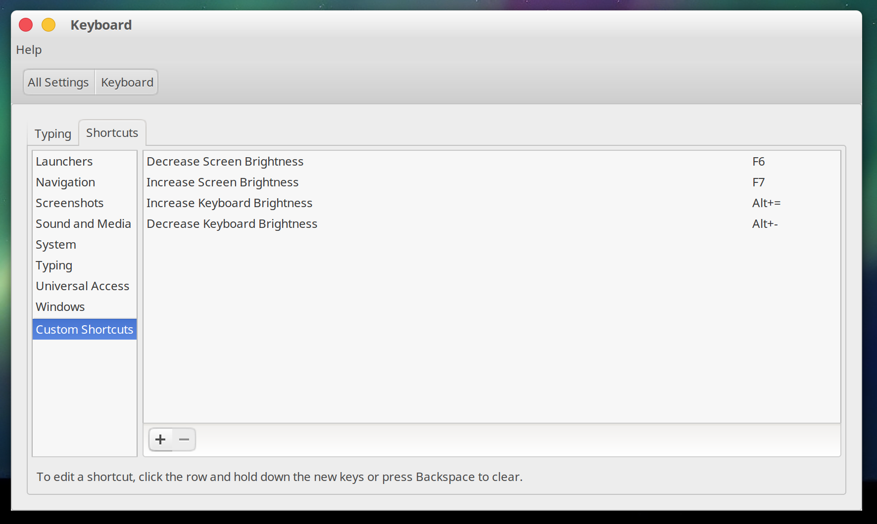 Ubuntu Keyboard settings dialog showing brightness shortcuts