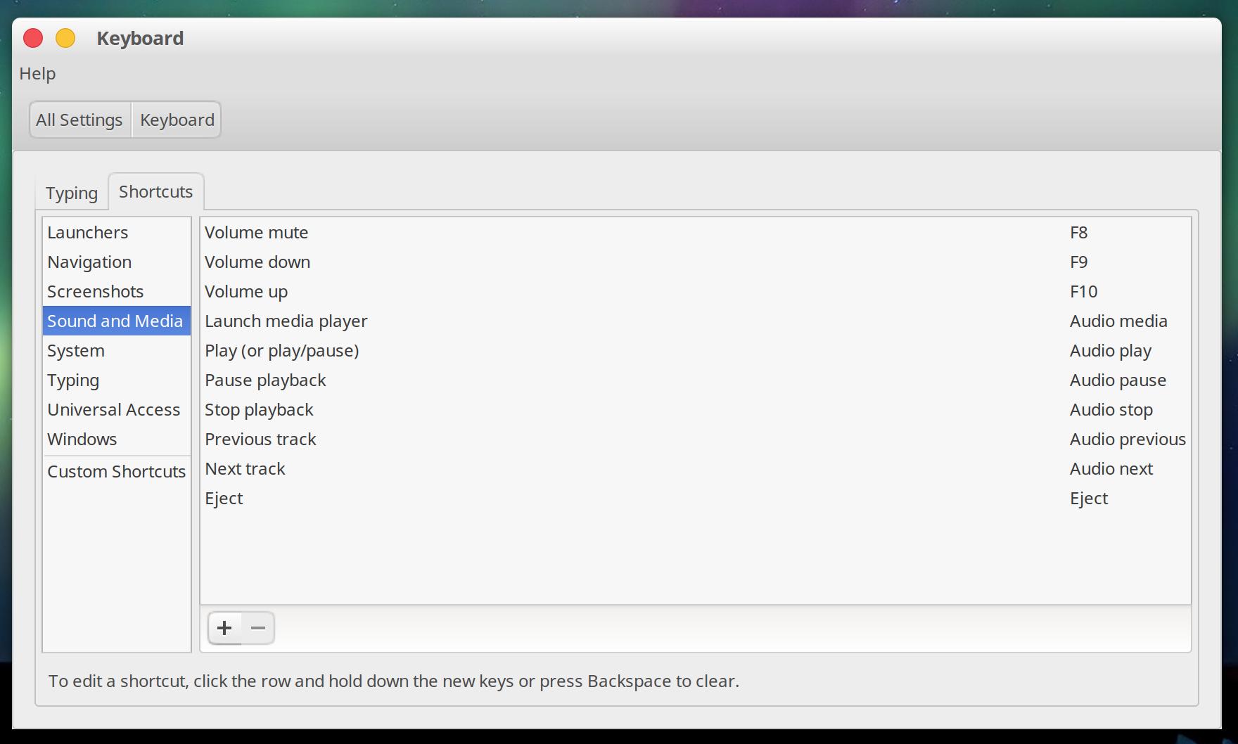 Ubuntu Keyboard settings dialog showing volume shortcuts