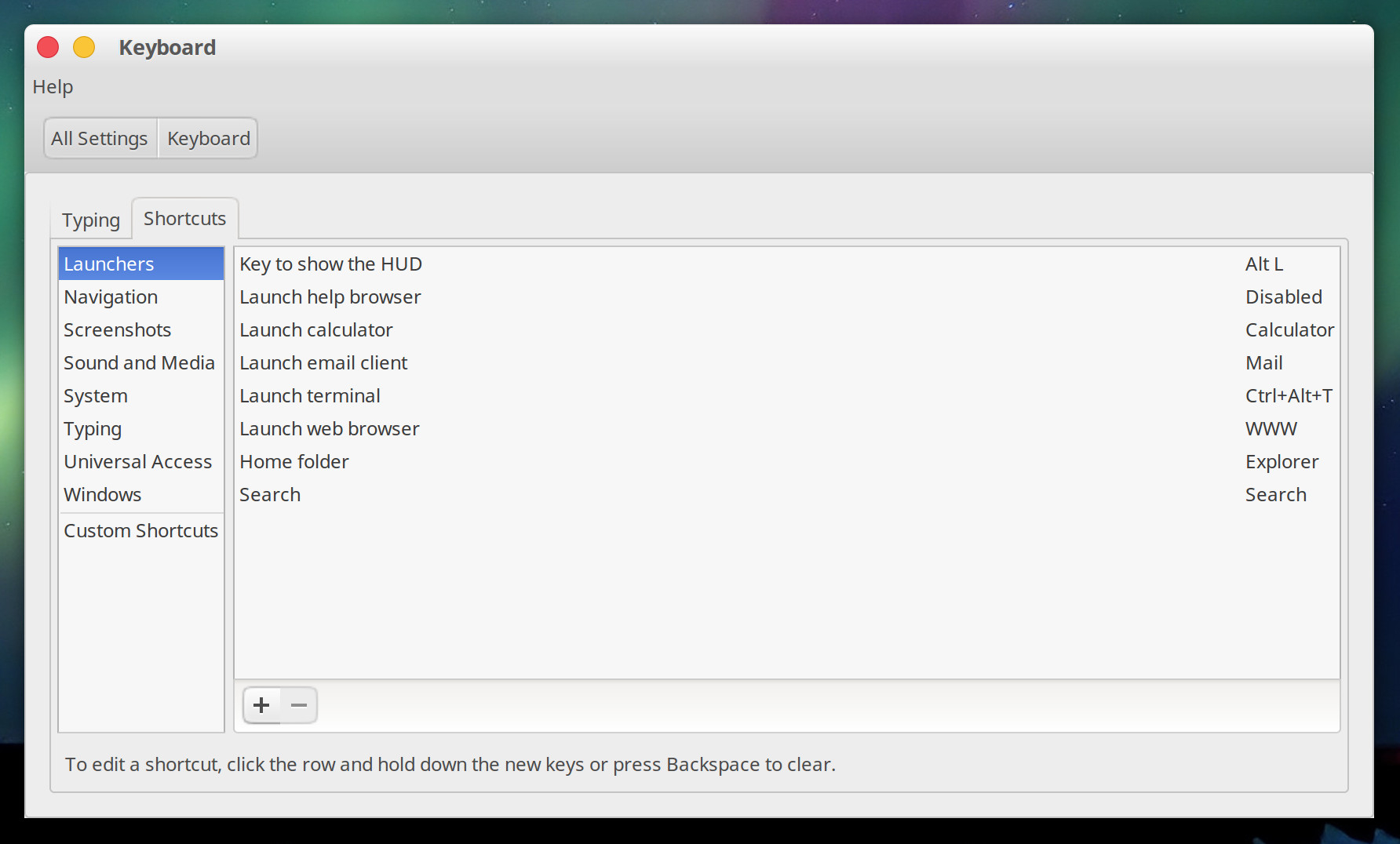 Ubuntu's Keyboard settings dialog showing shortcuts