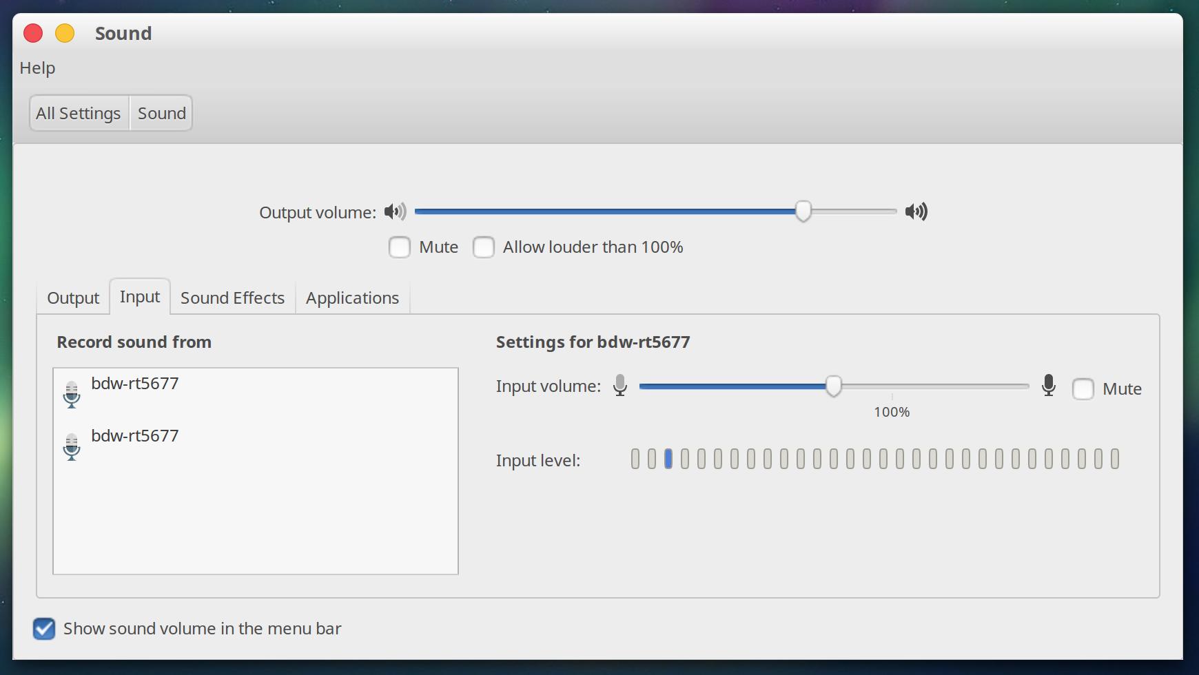 Ubuntu Sound settings showing bdw-rt5677 device as microphone input