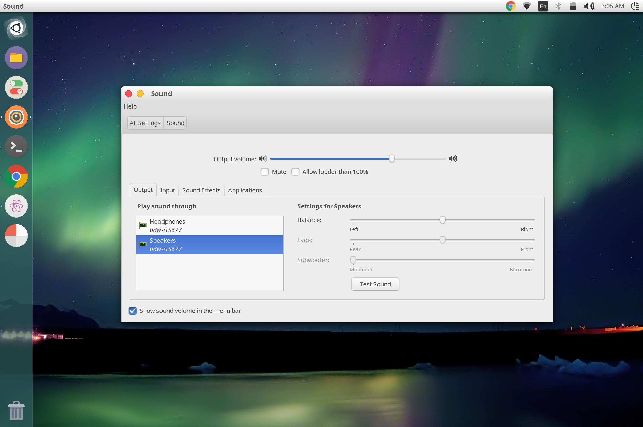 Ubuntu Sound settings showing bdw-rt5677 devices