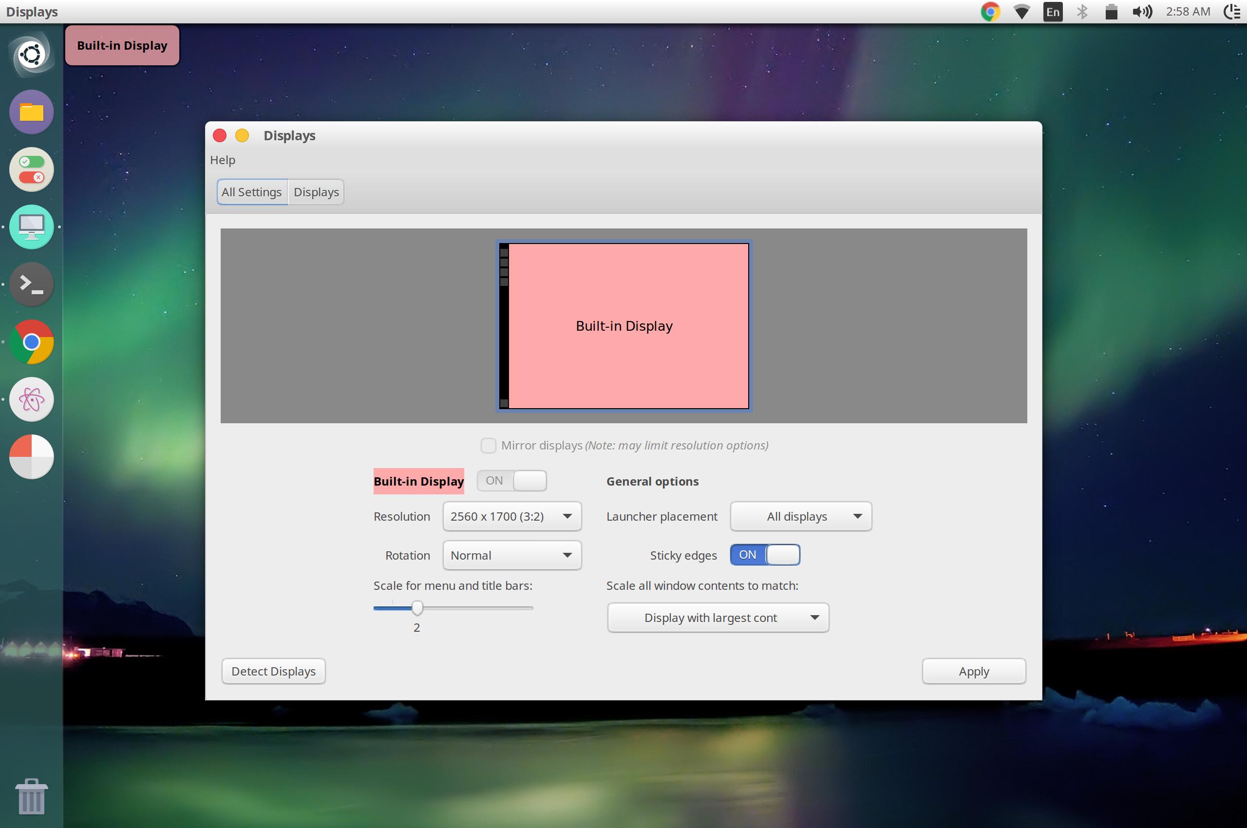 UI scale set to 2x in Ubuntu Display settings
